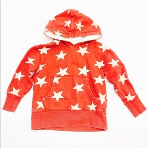 Mini Boden Red Star Hooded Sweatshirt | 3-4Y